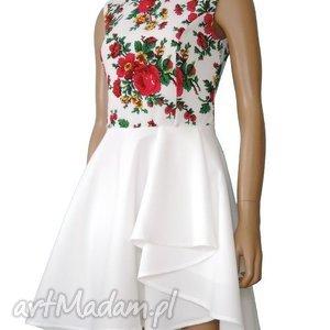 Biała sukienka z falbaną- motyw bukowiański folk, sukienka, folkowa, biała