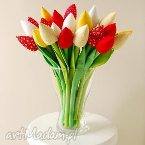 bukiet bawełnianych tulipanów - tulipany, bawełniane, kwiatki, kwiaty, szyte