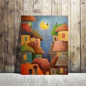 bajkowe miasteczko-obraz akrylowy formatu 40/50 cm, miasteczko, domki, akryl