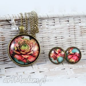 naszyjnik i kolczyki - komplet - kwiaty - naszyjnik, medalion, komplet, kwiaty, grafika