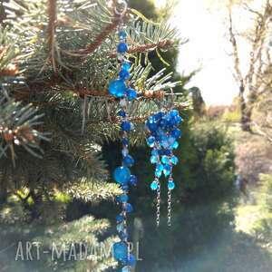 Agat niebieski komplet biżuteria onyksela agat, grona