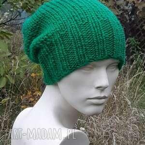 czapki wełna 100 unisex klasyk zieleń trawy, zielona czapka