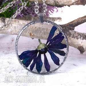 Naszyjnik z suszonymi kwiatami Herbarium, biżuteria żywicy 1002, naszyjnik