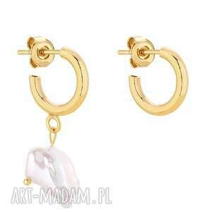 złote asymetryczne półkola s z naturalną perłą, asymetria, sztyfty