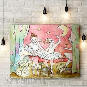 PRZEDSTAWIENIE Z BALETNICAMI, dziewczynka, baletnica, obrazek, grafika, plakat