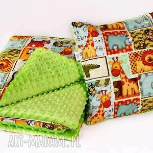 lilifranko zestaw przedszkolaka safari zielony, kocyk, poduszka, zestaw
