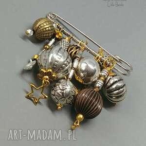 boho chic. autorska broszka niezwykła na agrafie, glamour w modnej złoto-srebrnej