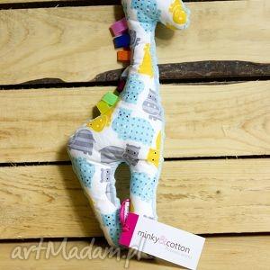 mięciutka żyrafka- minky bawełna - hipcie, minky, zabawka, pluszak, bawełna, prezent