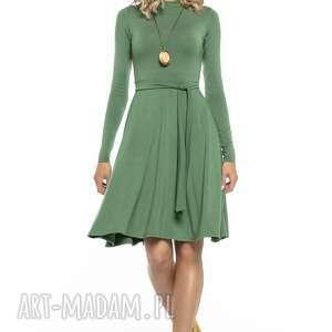 Zwiewna sukienka z miłej w dotyku dzianiny wiskozowej, T148, zielony, zwiewna