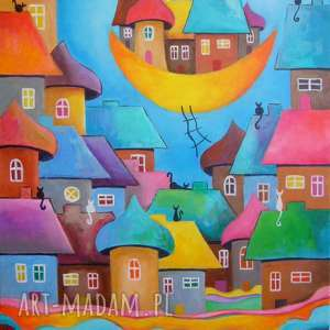 Obraz na płótnie - BAJKOWE MIASTECZKO KOTÓW 40/50 cm, abstrakcja, domki, akryl, koty