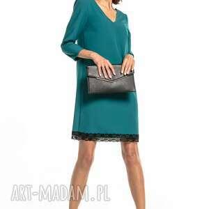 sukienki prosta sukienka z dekoltem v i koronką, t324, szmaragdowa