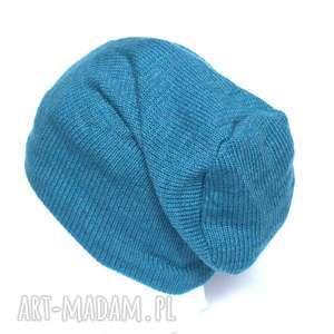 czapki niebieska wełniana czapka damska męska, wełna, czapka, niebieska, kolorowa