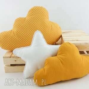 zestaw 3 poduch musztardowy 2 - musztardowa poduszka, poduszka chmurka, gwiazdka