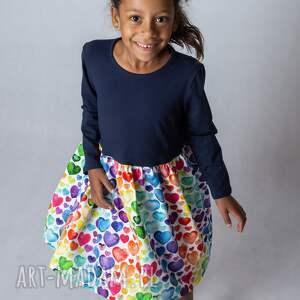 sukienka-długi rękaw - serca, sukienka dla dziewczynki, dziecka
