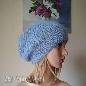baby blue moherowa czapka, rękodzieło, moher, bezszwowa, styl, prezent