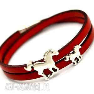 BRANSOLETKA SKÓRA MAGNETOOS DOUBLE HORSES RED, bransoletka, skóra, rzemień, konie,