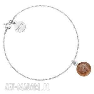 autorskie bransoletki srebrna bransoletka z brązową żywicą