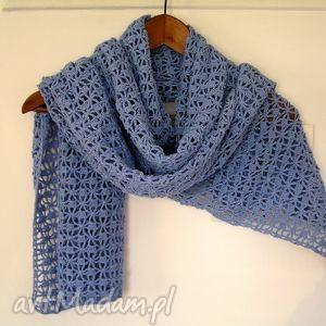 ażurowy szal z bawełny - szal, szalik, otulacz, szydełkowy, jesień