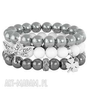 bransoletki iceberg 3 - grey, white steel , jadeit, perła, hematyt, koniczynka