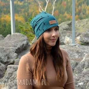czapka butelkowa zieleń beanie - czapka na jesień, beanie, ciepła