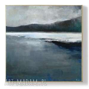 jezioro zimą-obraz akrylowy formatu 50/50 cm, jezioro, zima, akryl, obraz