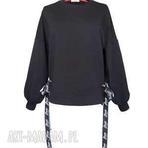 Bluza damska czarna z bufiastymi rękawami, bufiasty-rękaw, oversize,
