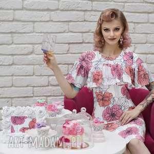 święta prezenty, sukienki sukienka elena midi rozetka, falbana, kwiaty