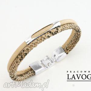 hand made bransoletki bransoletka w kremie z motywem węża