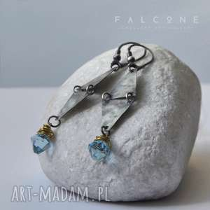 blue sky kolczyki, srebro, mosiądz, swarovski, kryształy, surowe, unikalny