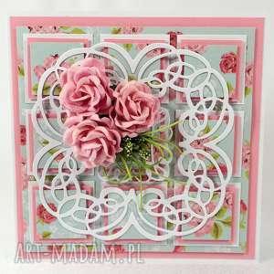 Kartka z różami, kartka, życzenia, scrapbooking