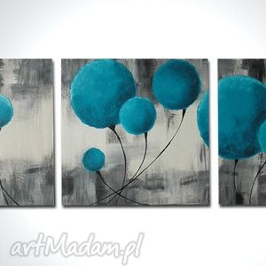 obraz ręcznie malowany DMUCHAWCE TURKUSOWE 2 -120x40cm , obraz, kulki, baloniki