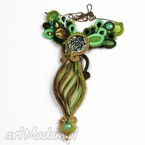 hand-made naszyjniki zielono-zloty wisior soutache z shibori