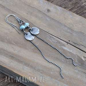 Larimar długie srebrne kolczyki, srebro, larimar, delikatne, długie, surowe