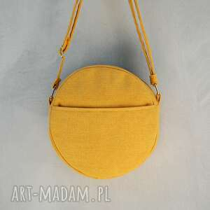 Prezent DOTTI - okrągła torebka na ramię żółta, okrągła, listonoszka, pojemna