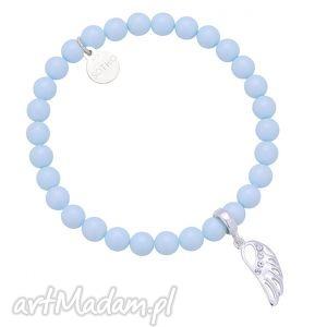 niebieska bransoletka z pereł i skrzydełka wysadzanego - skrzydełko