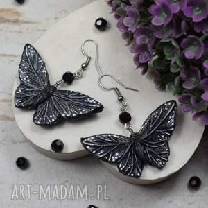 czarne motyle - oryginalne kolczyki, kolczyki motyle