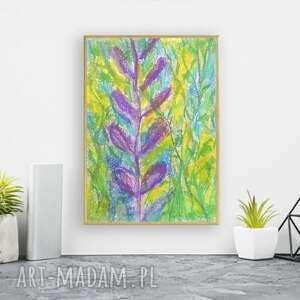 oprawiony kolorowy szkic, rysunek w ramce, dżungla obrazek na ścianę