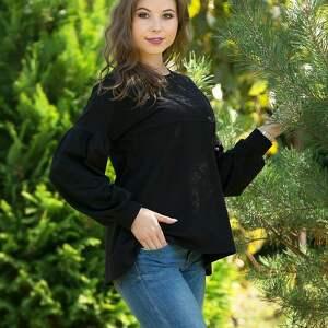bluzki lala bluzka trapezowa z bufiastym rękawem, czarna, bluzka, bufiasty