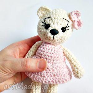 Kremowa misia w różowej sukience - 15 cm, misie, miś, maskotki, przytulanki