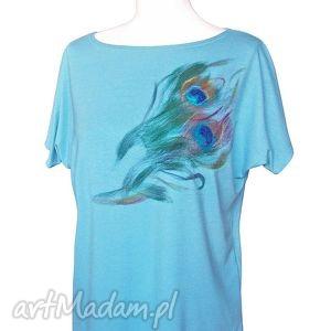 bluzki koszulka malowana wełną - pawie pióra s m, bluzka, koszulka, pawie, pióro