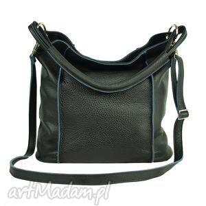 duża czarna torba ze skóry licowej, czarna, torba, torebka, prezent, duża, swobodna