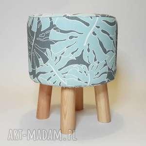 Puf Fikus - 36 cm MIĘTA, puf, taboret, hocker, vintage, siedzisko, stołek