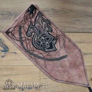 Skórzany piórnik na ołówki i kredki Celtycki Smok - ręcznie robiony malowany