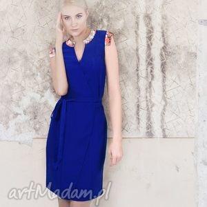 kopertowa sukienka kobalt kwiatowe wstawki, sukienka, kopertowa, kwiaty