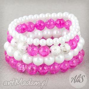 Perły z różem - ,crack,różowy,perły,zestaw,