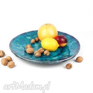 handmade ceramika patera xl - turkusowe esyfloresy