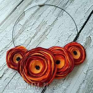 kwiatowa kolia naszyjnik z kwiatów ognisty - kwiaty, kolia, naszyjnik, biżuteria