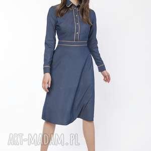 sukienka elegancka z kołnierzykiem, suk166 jeans, dress, sukienka, midi, jeans