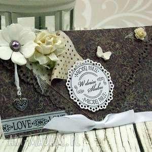 Prezent Kopertówka ślubna- eleganckie fiolety, ślub, wesele, prezent, kartka, serce