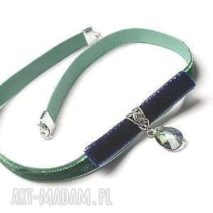 choker - bow /green-navy /, choker, aksamitka, swarovski, metal naszyjniki, unikalny